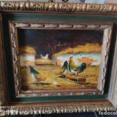 Arte: CUADRO OLEO SOBRE TABLA CORRAL GALLINAS AÑOS 70 FIRMADO CON IMPORTANTE MARCO MUY ANTIGUO. Lote 219325752
