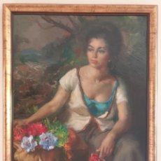Arte: AMADEO FREIXAS VIVÓ (BARCELONA, 1912-2004) - JOVEN CON CAMELIAS.OLEO/TELA.FIRMADO.. Lote 282534318