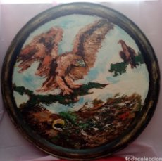 Arte: MAGNÍFICO TONDO DE GRANDES DIMENSIONES. PINTURA ÁGUILAS. ÓLEO SOBRE BANDEJA DE METAL. 97CM DIÁMETRO.. Lote 283191518