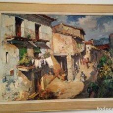 Art: PINTURA DE JOSEP SARQUELLA. CARRER D'UN POBLE. Lote 283203573