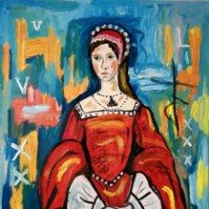 Arte: PINTURA, RETRATO MARIA TUDOR, MENINA, REINA, ÓLEO ORIGINAL FIRMADO.. Lote 283243668