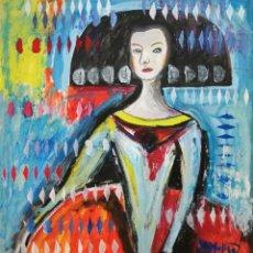 Arte: PINTURA PERSONAJE, MENINA, ÓLEO FIRMADO.. Lote 283845773