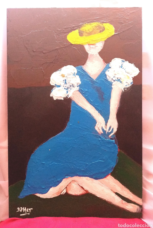 Arte: Hermosa pintura de Mujer con sombrero en el horizonte. Óleo sobre tabla. 46,5cm x 29,5cm x 1, 8cm - Foto 2 - 283922593