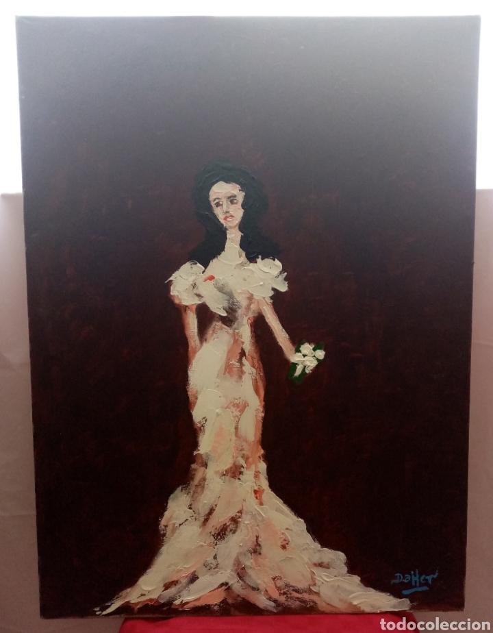Arte: Hermosa pintura vertical. Mujer del ayer con flor (4) Óleo sobre lienzo 73cm x 54cm - Foto 2 - 283932223