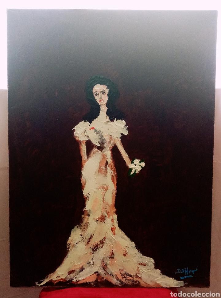 Arte: Hermosa pintura vertical. Mujer del ayer con flor (4) Óleo sobre lienzo 73cm x 54cm - Foto 3 - 283932223