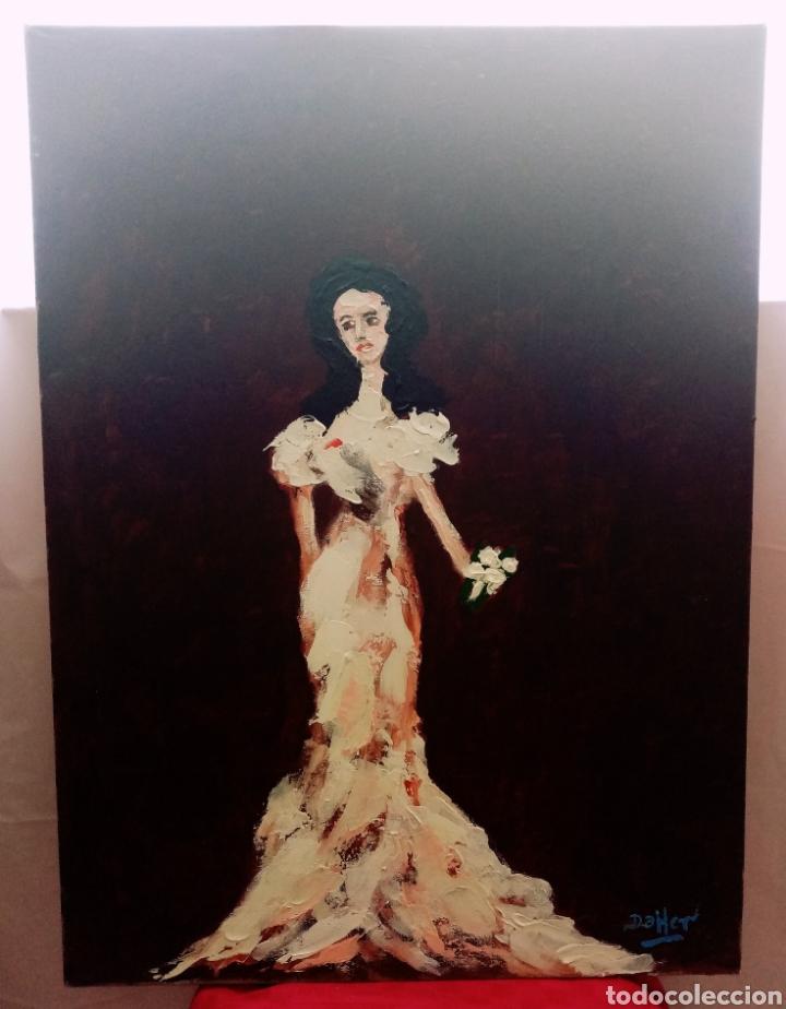 HERMOSA PINTURA VERTICAL. MUJER DEL AYER CON FLOR (4) ÓLEO SOBRE LIENZO 73CM X 54CM (Arte - Pintura - Pintura al Óleo Moderna sin fecha definida)