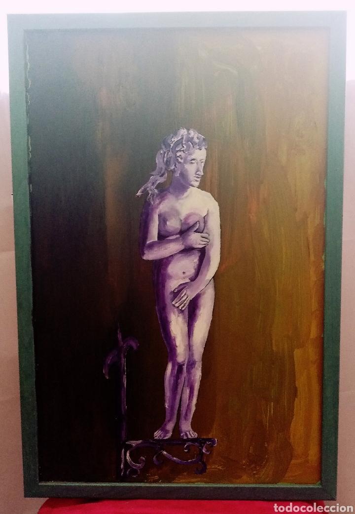Arte: Bonita pintura Óleo sobre tabla. Escultura. + Marco gris. 60cm x 40cm - Foto 3 - 283967068