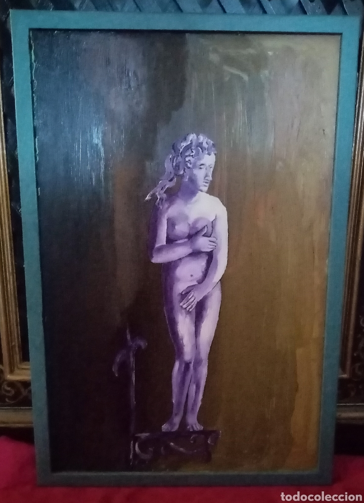 BONITA PINTURA ÓLEO SOBRE TABLA. ESCULTURA. + MARCO GRIS. 60CM X 40CM (Arte - Pintura - Pintura al Óleo Moderna sin fecha definida)