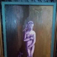 Arte: BONITA PINTURA ÓLEO SOBRE TABLA. ESCULTURA. + MARCO GRIS. 60CM X 40CM. Lote 283967068