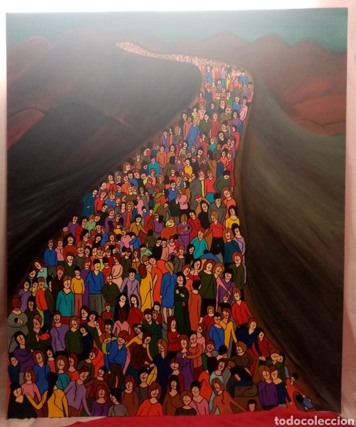 Arte: Preciosa pintura de grandes dimensiones. Camino sin medida Técnica mixta sobre lienzo Formato (3D).. - Foto 4 - 283970198