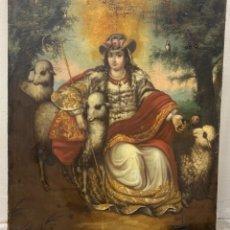 Arte: ESCUELA COLONIAL ESPAÑOLA, MÉXICO - SIGLO XVIII - PASTORA DIVINA - ÓLEO SOBRE LIENZO - 125X103 CM. Lote 284566843