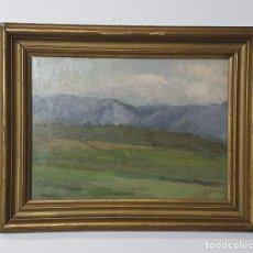 Arte: JOSEP BERGA Y BOIX (1837-1914) - ÓLEO SOBRE MADERA - PAISAJE - SELLO DE LA EXPOSICIÓN DEL AÑO 1947. Lote 284608523