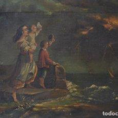 Arte: TORMENTA EN EL MAR CON MUJER Y NIÑOS, PINTURA AL ÓLEO SOBRE TELA, 1870, FIRMADA POR ANTONIO ROCA.. Lote 284708158