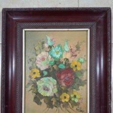 Arte: PRECIOSO ANTIGUO CUADRO ÓLEO - LIENZO FIRMADO (CALLEJA) PINTADO CON MOTIVOS FLORALES MEDIDAS. 50×42. Lote 284789208