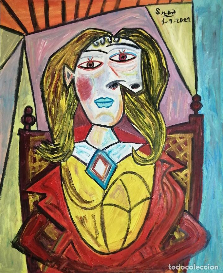 Arte: Pintura cubista, personaje picassiano, óleo firmado. - Foto 2 - 285164088