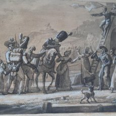 Arte: WASH AGUADA FECHADA 1818 JEAN-CHARLES DEVELLY 1783-1862. Lote 285189148