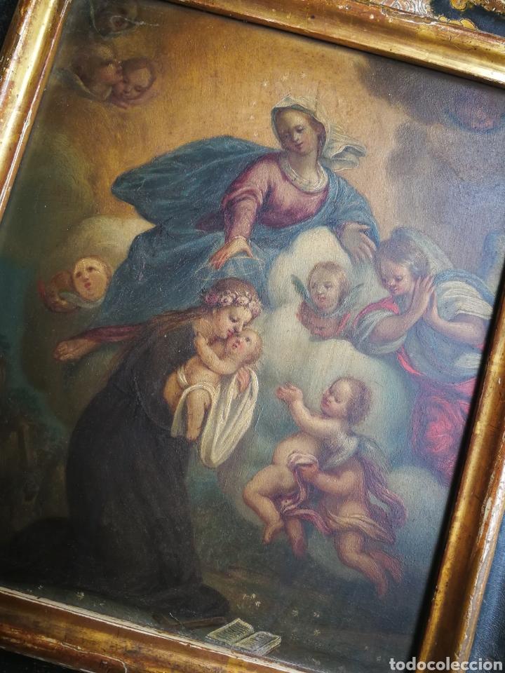 Arte: INCREÍBLE ÓLEO ESCUELA ESPAÑOLA S.XVIII SOBRE COBRE STA.ROSALÍA, PROPIEDAD BISBE BARCELONA (1735). - Foto 2 - 285279888