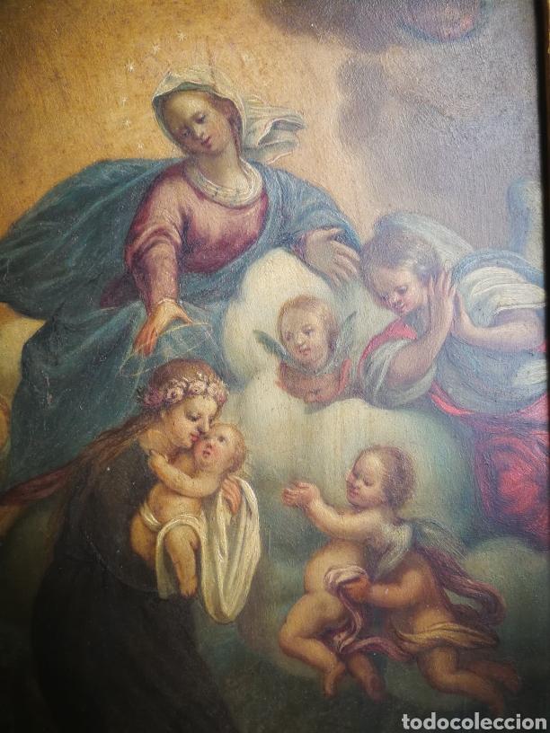 Arte: INCREÍBLE ÓLEO ESCUELA ESPAÑOLA S.XVIII SOBRE COBRE STA.ROSALÍA, PROPIEDAD BISBE BARCELONA (1735). - Foto 4 - 285279888
