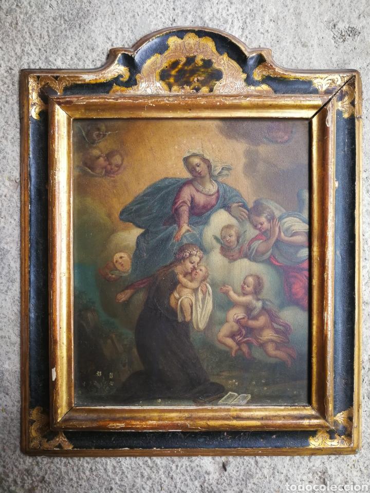 INCREÍBLE ÓLEO ESCUELA ESPAÑOLA S.XVIII SOBRE COBRE STA.ROSALÍA, PROPIEDAD BISBE BARCELONA (1735). (Arte - Pintura - Pintura al Óleo Antigua siglo XVIII)