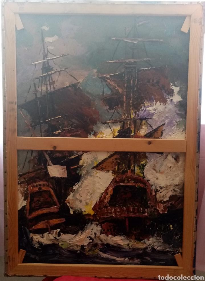 Arte: Hermosa pintura Óleo sobre lienzo. Otoño en el río. 92cm x 65cm - Foto 3 - 285288443