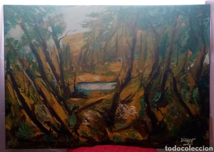 HERMOSA PINTURA ÓLEO SOBRE LIENZO. OTOÑO EN EL RÍO. 92CM X 65CM (Arte - Pintura - Pintura al Óleo Moderna sin fecha definida)