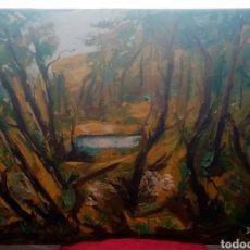 Arte: HERMOSA PINTURA ÓLEO SOBRE LIENZO. OTOÑO EN EL RÍO. 92CM X 65CM. Lote 285288443