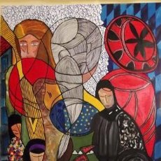 Arte: UNIONES DEL PASADO MIXTA SOBRE LIENZO DE 100X160 ENMARCADA. Lote 285319183
