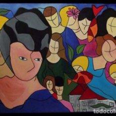 Arte: ENFOQUE DE LA MUJER DEL VESTIDO AZUL MIXTA SOBRE LIENZO DE 100X76 ENMARCADA. Lote 285320058