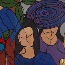 Arte: LA MUJER DEL SOMBRERO MIXTA SOBRE LIENZO DE 123X63 ENMARCADA. Lote 285320988
