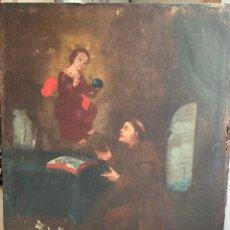 Arte: ESCUELA SEVILLANA SIGLO XVIII - APARICIÓN NIÑO JESÚS A SAN FRANCISCO - OLEO SOBRE LIENZO-. Lote 285557673