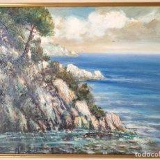 Arte: ANTONIO SANCHEZ CORRALIZA (BADAJOZ 1909-BARCELONA 2000) OLEO SOBRE TABLA TOSSA DE MAR 1957. Lote 285744823