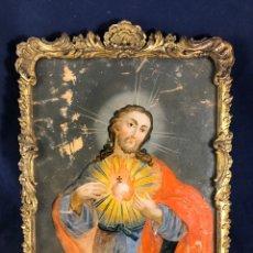 Arte: S.XVIII ANTIGUO CRISTAL PINTADO DEL SAGRADO CORAZÓN DE JESÚS. Lote 285994608