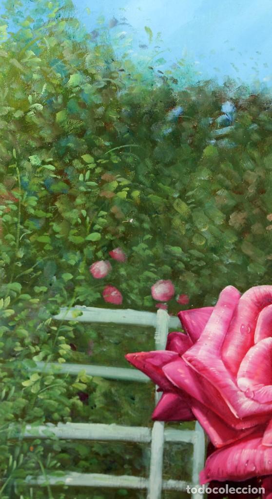 Arte: FIRMADO HUBERT. OLEO SOBRE TABLA. COMPOSICION CON ROSAS - Foto 3 - 286233543