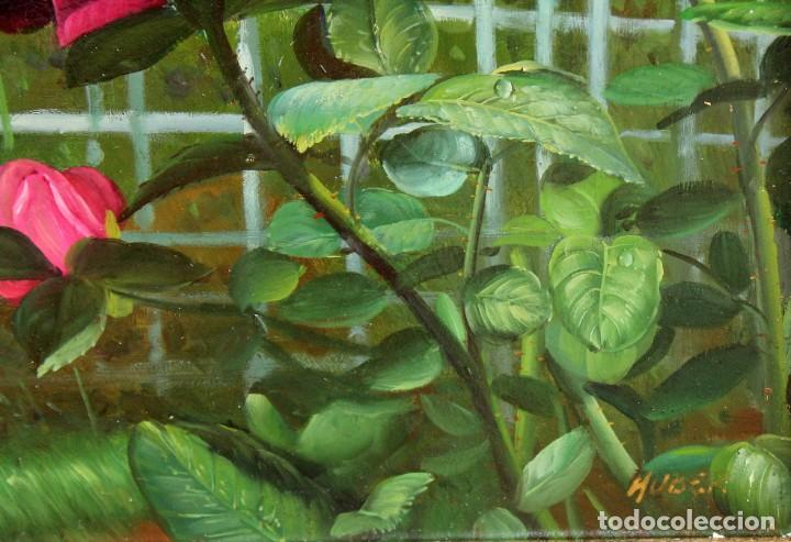 Arte: FIRMADO HUBERT. OLEO SOBRE TABLA. COMPOSICION CON ROSAS - Foto 5 - 286233543