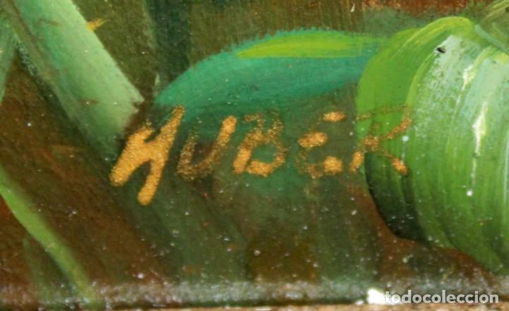 Arte: FIRMADO HUBERT. OLEO SOBRE TABLA. COMPOSICION CON ROSAS - Foto 7 - 286233543