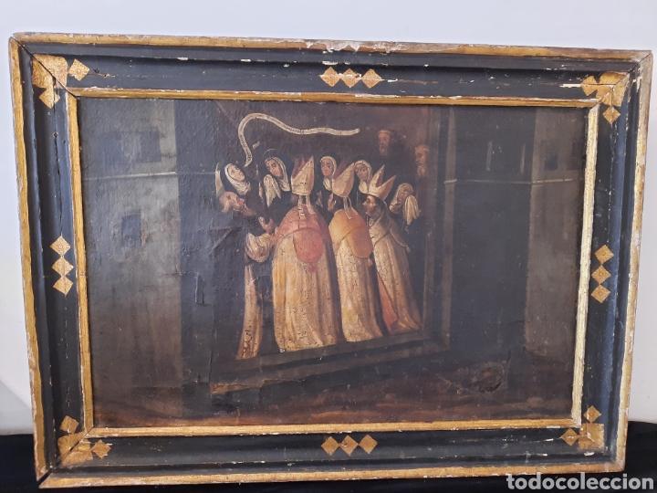 ANTIGUO CUADRO SIGLO XVIII PINTURA RELIGIOSA CLARO OSCURO. (Arte - Pintura - Pintura al Óleo Antigua siglo XVIII)