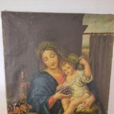 Art: ANTIGUO CUADRO LA VIRGEN DE LAS UVAS. IMAGEN DE LA VIRGEN OFRECIENDO UVAS AL NIÑO. Lote 286322588