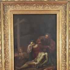 Arte: DECENDIMIENTO DE JESUS. ANONIMO. ESC. EUROPEA. ÓLEO SOBRE TABLA. SIGLO XVII-XVIII. Lote 286410763