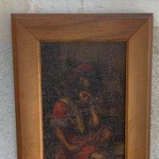Arte: OLEO LIENZO PEGADO A TABLA S XVII FRAGMENTO ROMANO GUERRERO DORMIDO A PIE DE CRUZ O SEPULCRO 67X47CM. Lote 286420148