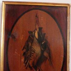 Arte: BODEGÓN DE CAZA, OLEO SOBRE TABLA. S.XIX, SIN FIRMA APARENTE. 60X42CM. Lote 286648503
