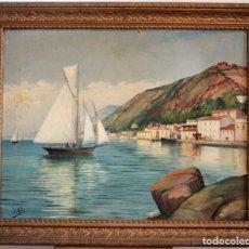 Arte: JOAN GIL I GIL (1900-1984)ATR, -VISTA DE PUEBLO COSTERO. OLEO/LIENZO. CON MARCO 76X61CM. Lote 286657318