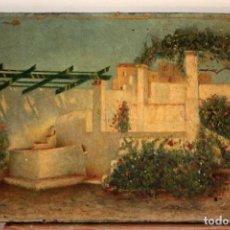 Arte: PATIO CON FUENTE, PINTURA AL OLEO, FIRMA ILEGIBLE. S.XIX. 37X25CM. Lote 286701553