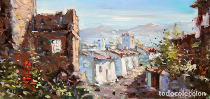 ALIAGA (SIGLO XX) OLEO SOBRE TELA FECHADO DEL AÑO 1975. PAISAJE (Arte - Pintura - Pintura al Óleo Contemporánea )
