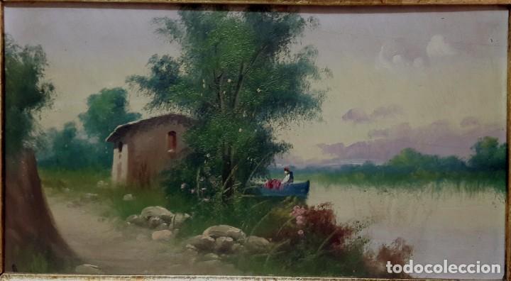 Arte: SIGLO XIX. CUADRO. OLEO SOBRE TABLA EN MARCO DE MADERA TALLADA Y DORADA. FIRMADO RULA - Foto 4 - 286851543