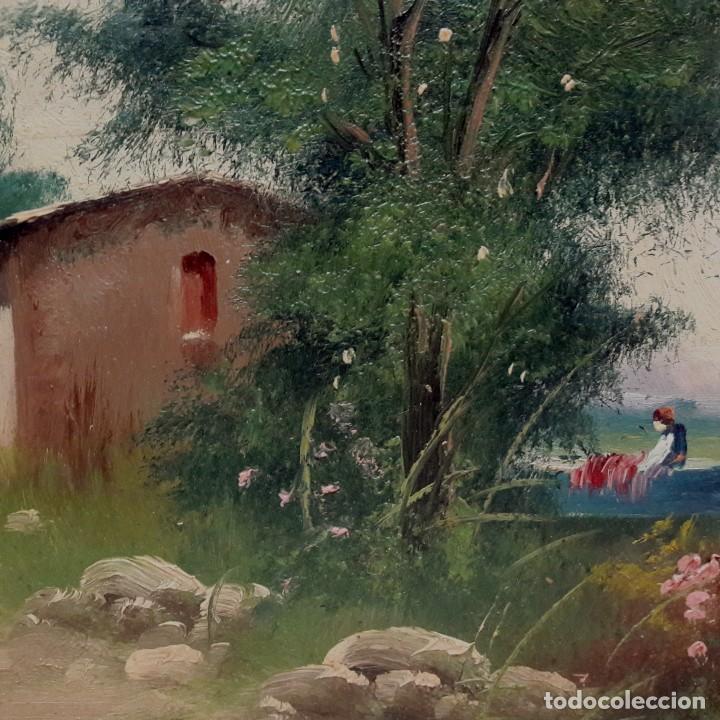 Arte: SIGLO XIX. CUADRO. OLEO SOBRE TABLA EN MARCO DE MADERA TALLADA Y DORADA. FIRMADO RULA - Foto 5 - 286851543