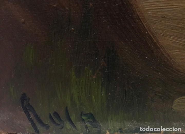 Arte: SIGLO XIX. CUADRO. OLEO SOBRE TABLA EN MARCO DE MADERA TALLADA Y DORADA. FIRMADO RULA - Foto 6 - 286851543