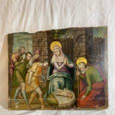 Art: MAGNIFICA PINTURA RELIGIOSA SOBRE TABLA, REPRESENTA UN NACIMIENTO. S XVI. Lote 286896078