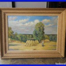 Arte: CUADRO OLEO SOBRE TABLA DE UN PAISAJE DE CAMPO. Lote 287008468