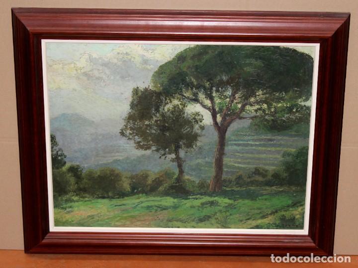Arte: ISIDRE ODENA DAURA (TERRASSA, 1910 - 2008) OLEO SOBRE TABLA. PAISAJE. 50 X 65 CM. - Foto 2 - 287058148