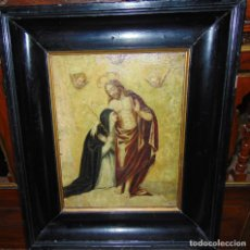 Arte: APARICION DE CRISTO A SANTA CATALINA DE SIENA, OLEO SOBRE COBRE, BUEN TAMAÑO. Lote 287267958